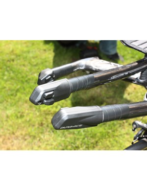 Shimano's Dura-Ace Di2 electronic shifting system lets Team Columbia-High Road riders shift from nearly anywhere on the bar.