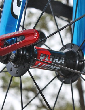 This hub is badged with Ambrosio logos but it appears to be sourced from DT Swiss.