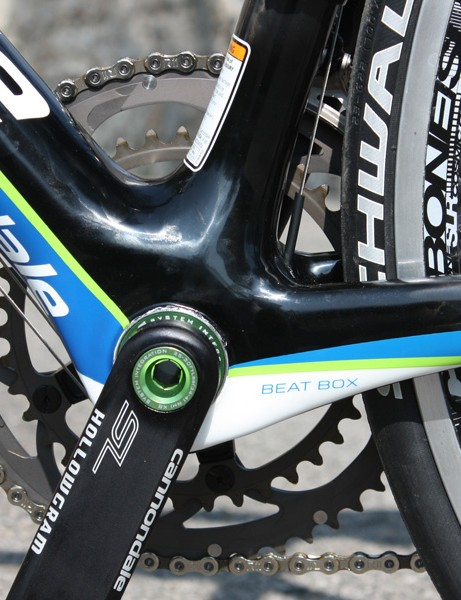 The 'Beat Box' is basically a fancy term for Cannondale's tremendously reinforced bottom bracket area.  There is a lot of carbon fibre on hand here and it definitely shows on the road.