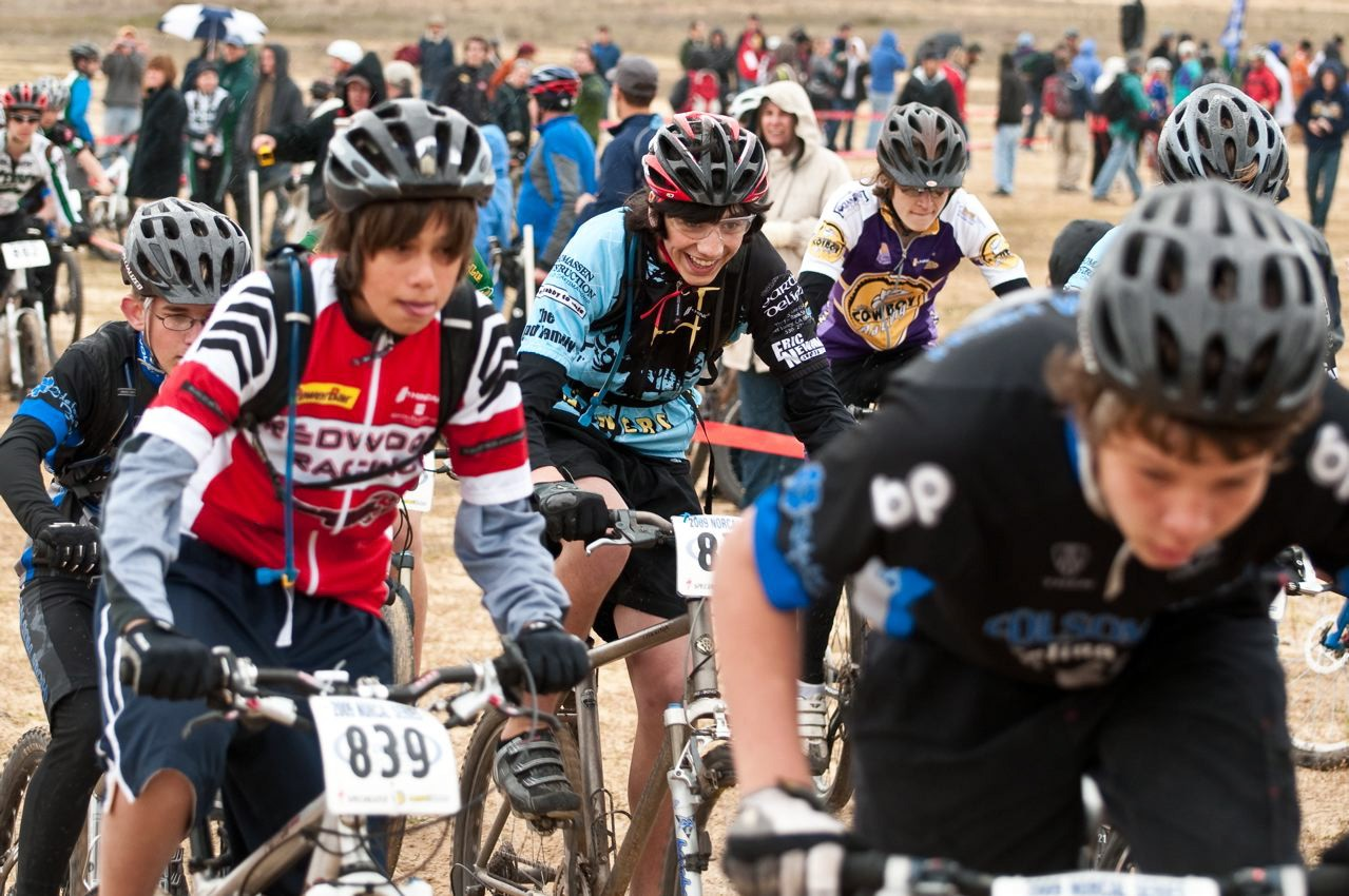 The start of the Freshman Boys (Div. 1) race at the Granit Bay Invitational I. The race began on a tough uphill section of sand, giving riders the first of many challenges from the gun.