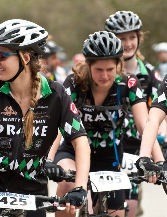 Drake Girl-Pirates line up at the season opener and have helped bring the team to the top position this season.