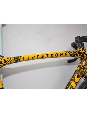 Armstrong was not only preaching his 'Livestrong' message on the bike; he also had a generously sized Livestrong crew and official company vehicles in tow