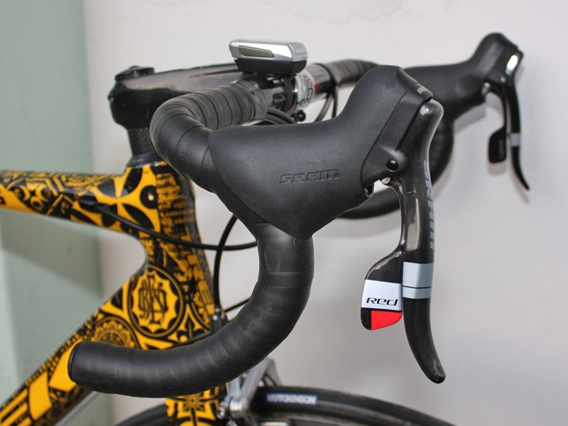 As always, Armstrong's shifters are situated high on his Bontrager VR-bend Race XXX Lite bar