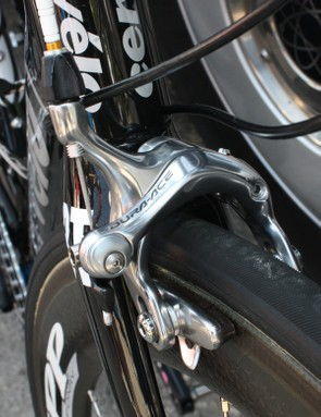 Shimano Dura-Ace 7800 brake calipers aren't particularly light but they work superbly