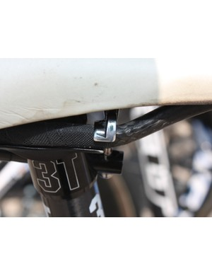 Danielson has to run the saddle all the way back on the rails to get it to work with the zero-offset 3T Doric post - and the clamp hardware has been polished overtime as a result