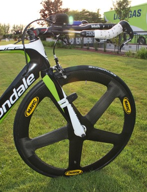 Basso's Mavic Io front wheel gets the lightweight treatment as well…