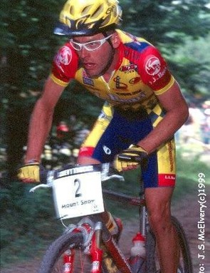 Steve Larsen racing cross country in 1999.