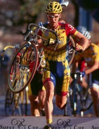 Steve Larsen racing cyclo-cross in 1999.