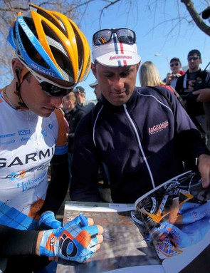 Garmin's Christian Vande Velde signs an autograph before Stage 5 of the 2009 Tour of California.