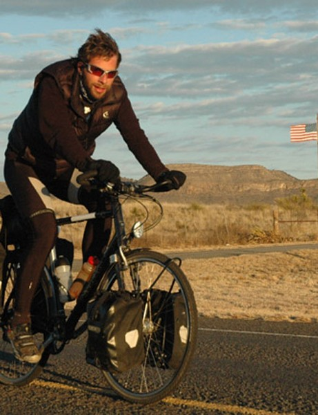 Mark Beaumont crossing the USA during his round-the-world trip in 2008