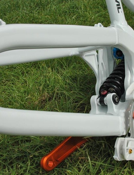 Single pivot swingarm out back which houses a Fox DHX RC4 shock, a small rocker and linkage