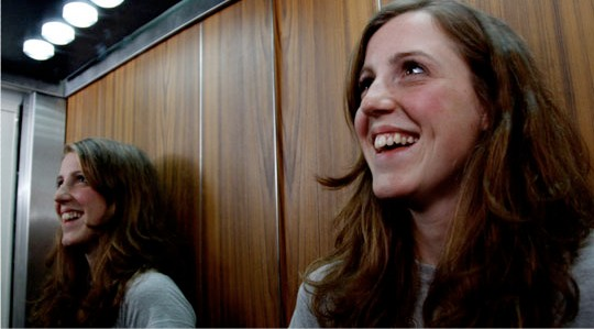 Rachel Atherton in a happy elevator moment.