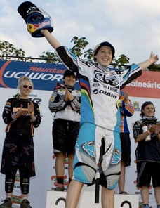 Rachel Atherton on the top spot of the 2008 UCI elite women's downhill world championships.