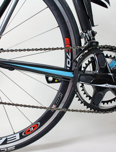 The drivetrain of our test bike was based on 10-speed Campagnolo Record