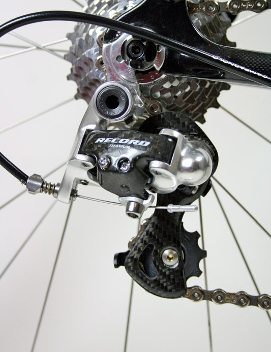 The Record 10-speed rear derailleur may have been superceded by the new 11-speed version, but shifts were still crisp