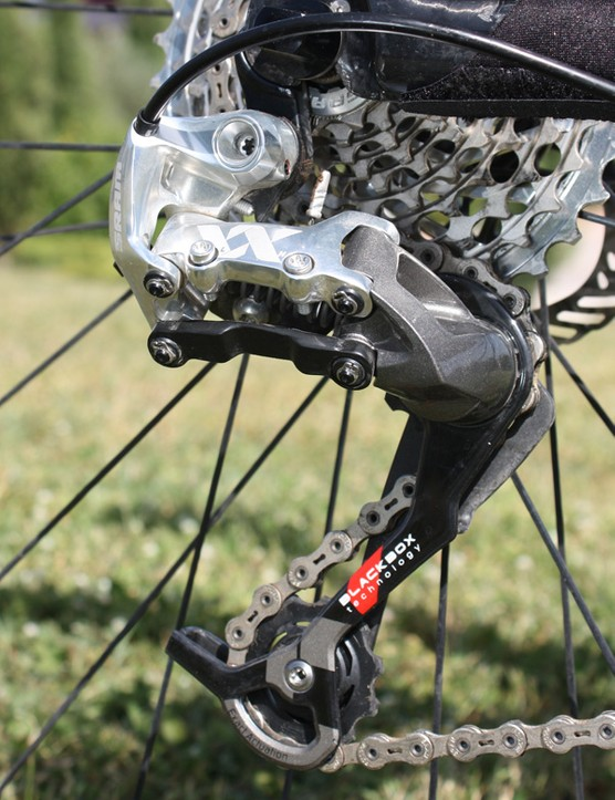 The rear derailleur is lighter than X.0 by virtue of forged magnesium and more carbon fibre