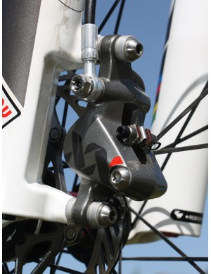 The new two-piece Avid XX caliper is made from forged magnesium and fitted with titanium hardware