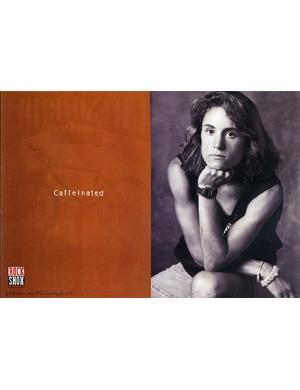 A RockShox print ad featuring Juli Furtado from the early 1990s: certified coffee fiend