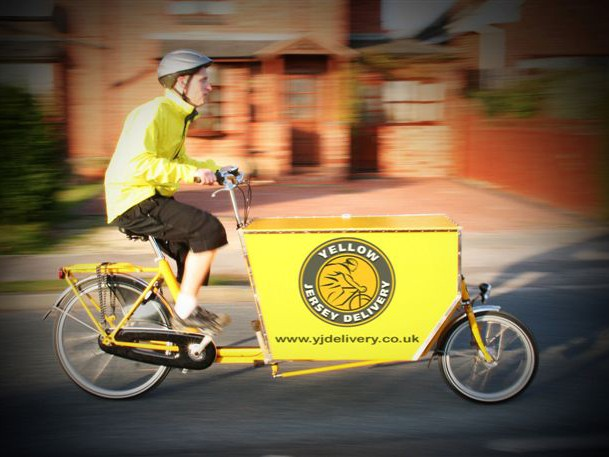 Cargo bikes can be used for carrying goods as well as children, in this case in Coventry
