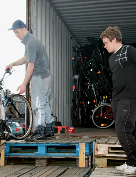 The 30,000th bike, donated by Trevor Moles of Colchester, is loaded onto a truck