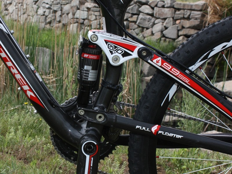 Trek's Full Floater suspension design  puts both shock ends on dynamic pivots for more control over spring rate.