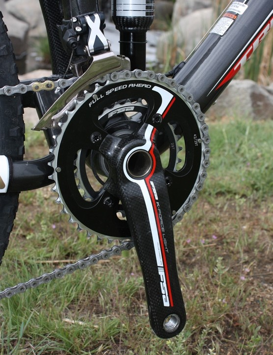 Trek worked with FSA to create a narrower version of their K-Force Light 2x9 crankset and the effect on pedaling mechanics is definitely noticeable.
