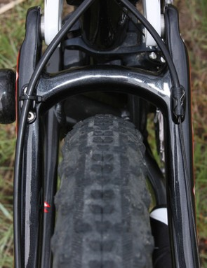 There's plenty of clearance with the narrow tires but the widely-set stays will easily accommodate wider rubber.