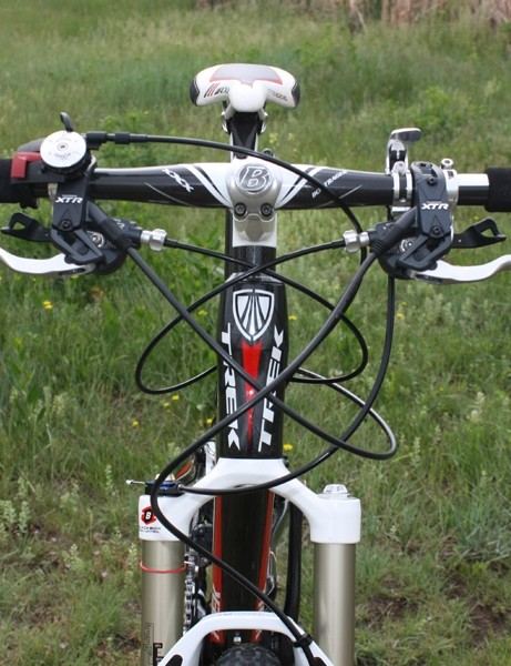 Separate lockout levers for both the rear shock and fork  make for a crowded front end.