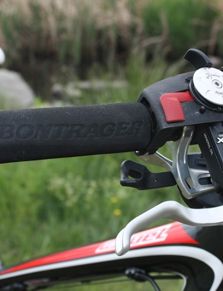 The DT Swiss rear shock lockout is somewhat hard to operate  while on the trail and we never got on with the Bontrager foam grips, which tended to rotate on the bars and don't provide much useful cushioning, either.