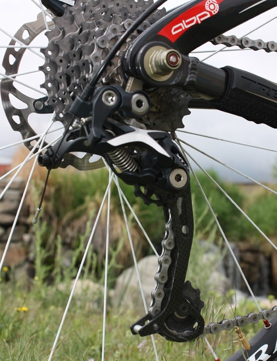 Shimano's XTR 'Shadow' rear derailleur  reliably rattled off shift after shift.