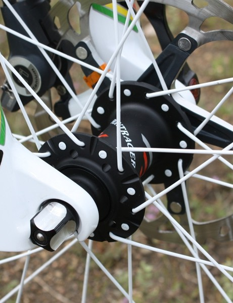 Bontrager have traded in the DT Swiss-made hubs  for an in-house design that works ok up front…