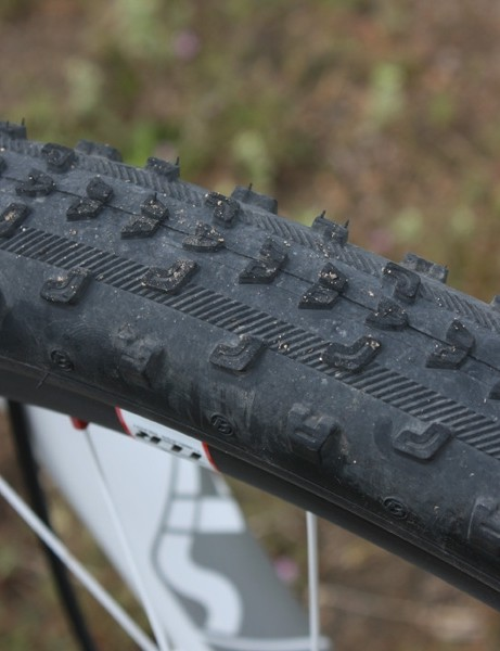 The minimal Bontrager Jones XR Team Issue tires actually aren't quite as scary as they look - unless you're on loose ground in which case they're every bit as scary as they look but still wicked fast.