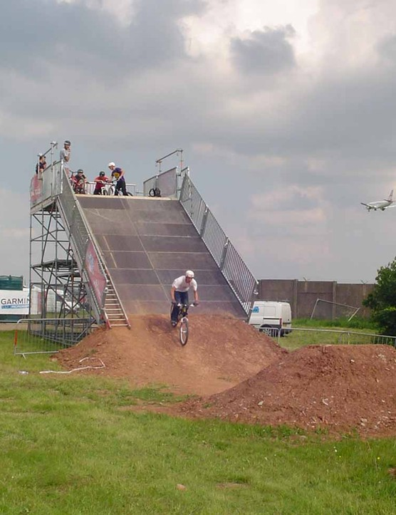 Chris Smith practising on the dirt jump