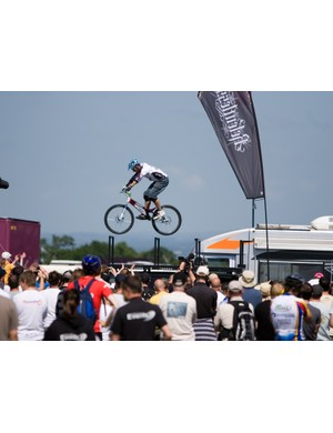 Martyn Ashton rides high above the crowd