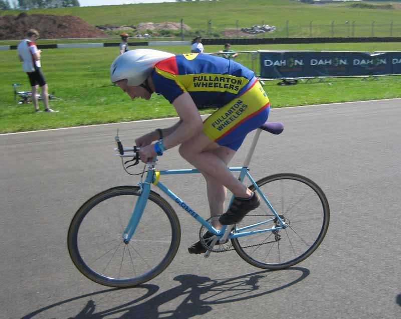 Graeme Obree sets off for a test lap in the Procycling Hot Laps at Donington Park
