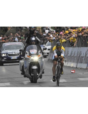 Armstrong rode the final time trial conservatively Sunday in Rome, not wanting to risk injury in the rain.