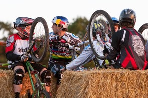 Riders chat on the uplift trailer