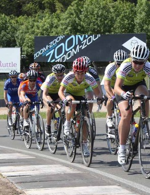 Emma Davies on the front of the leading women's bunch