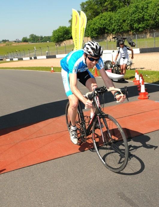 BikeRadar's Jeff Jones crosses the line with the third best time