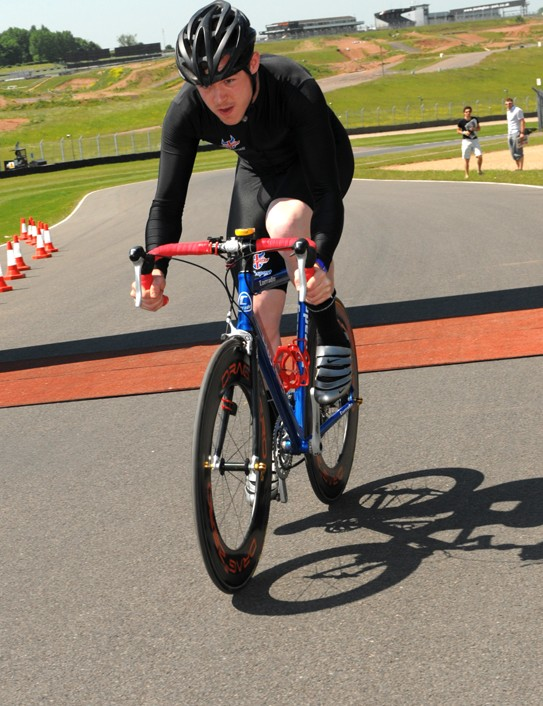 One of the competitors in the Procycling Hot Laps
