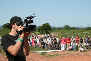 A large crowd lined the dual slalom track to watch the action