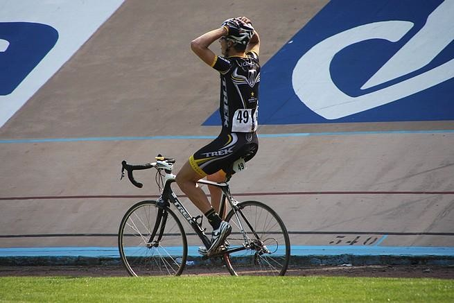 Taylor Phinney (Trek-Livestrong) can't believe his victory as he rolls around the Roubaix velodrome.