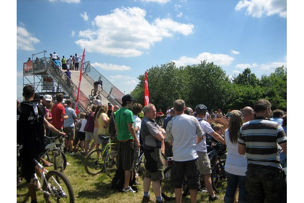 A steady stream of riders headed down the dirt jump start ramp throughout the weekend