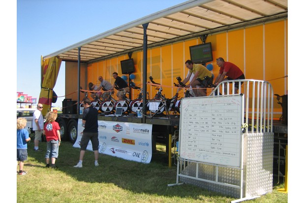 The DHL Wattbike truck was the ideal place to decide who should buy the next round of ice-creams