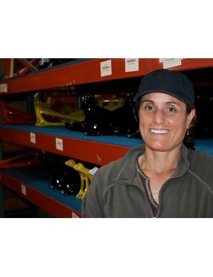 Juli Furtado in the Santa Cruz Bicycles warehouse