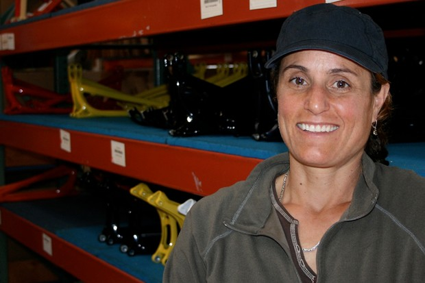 Juli Furtado in the Santa Cruz Bicycles warehouse