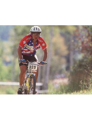 Furtado competes in the women's World Mountain Bike Championships in Vail, Colorado in 1994