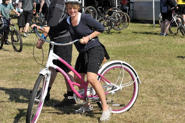 A demo rider gets to grips with a Haro Molly cruiser demo bike