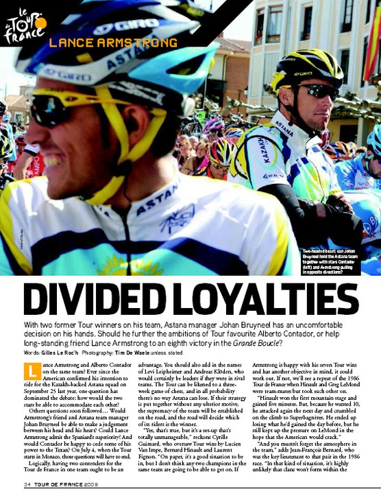 Inside: we look at the loyalties within the Astana team