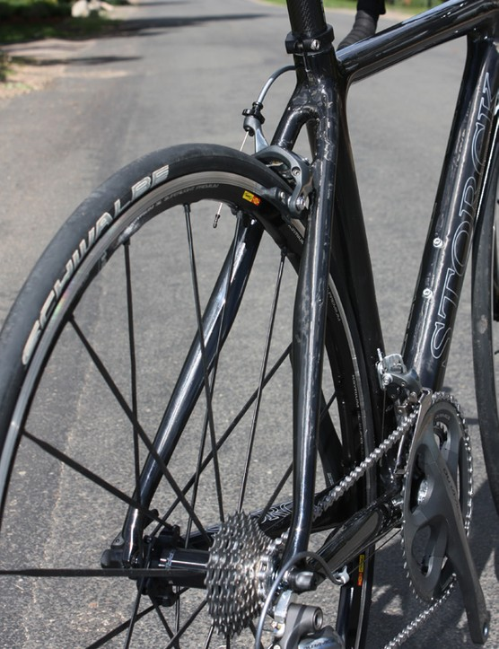 Like the chainstays, Storck flare the seatstays in width through their midsection to beef up the area